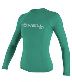 O'Neill Wetsuits UV Sun Protection Womens Basic Skins Long Sleeve Crew Sun Shirt Rash Guar ...