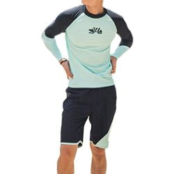Men's Swimwear Rash Guard Sets Long Sleeves and Shorts Two Pieces Swim Suits Crew Neck