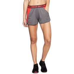 Under Armour Women's Play Up Shorts 2.0, Charcoal (019)/Neon Coral, X-Large