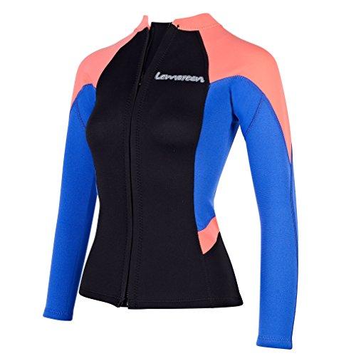 Lemorecn Women's 2mm Wetsuits Jacket Long Sleeve Neoprene Wetsuits Top (2096bluered-14)