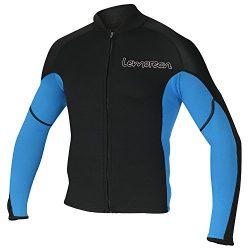 Lemorecn Men's 2mm Wetsuits Jacket Long Sleeve Neoprene Wetsuits Top (2021blueL)