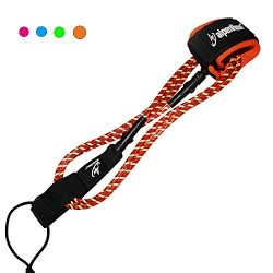 A ALPENFLOW Surfboard Leash 7mm Premium 7' Straight Leash with Double Stainless Steel Swivels an ...