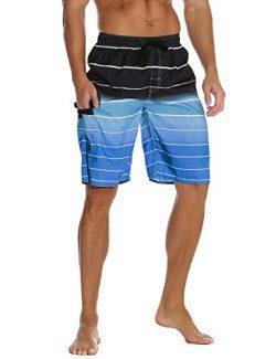 Nonwe Men's Beachwear Quick Dry Holiday Drawstring Striped Beach Shorts Blue 28