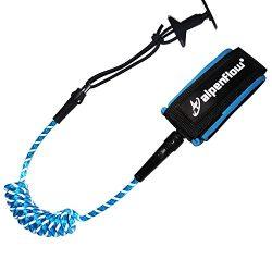 A ALPENFLOW Body Board Leash 4 Feet 7mm Coiled Leash Comfortable Lightweight Padded Neoprene Cuf ...