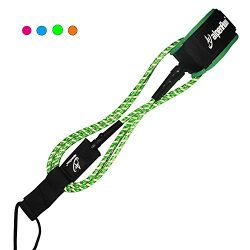 A ALPENFLOW Surfboard Leash 7mm Premium 6' Straight Leash with Double Stainless Steel Swivels an ...