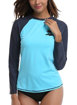 Taylover Womens Solid Printed Long Sleeve Rash Guard Swim Top Rashguard Swimsuit UPF 50+ Swim Top