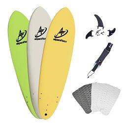 A ALPENFLOW 7′ Surfboard Soft Top Foamie Surfing Boards 7ft Surfing Beach High Performance ...