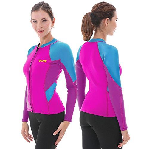 Goldfin Wetsuit Top Jacket Neoprene for Women 2mm Long Sleeves Front Zip Diving Snorkeling Surfi ...