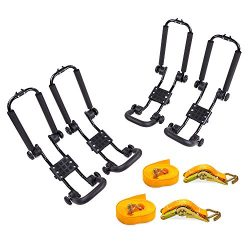 AA Products 2 Pair Steel Double Folding J-Bar Rack for Kayak Carrier Canoe Boat Paddle Board Sur ...