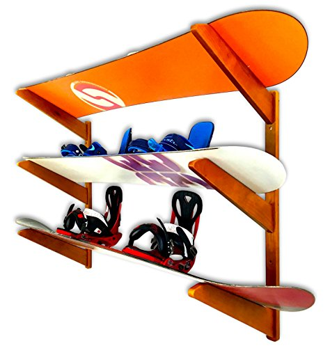 Timber Snowboard Wall Rack – Holds 3 Snowboards – Cherry Wood Home & Garage Stor ...