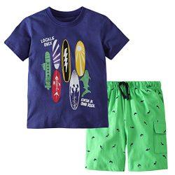 Hsctek Boys' Cotton Clothing Sets, Short Sleeve T-Shirt & Short Sets for Summer (Surfb ...