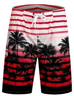 APTRO Men's Swim Trunks Quick Dry Bathing Suit Swim Shorts Pockets (L Palm-Tree Red Mesh)