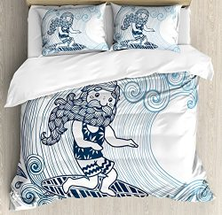 Wave Queen Size Duvet Cover Set by Ambesonne, Doodle Surfer with Long Beard on Swirled Waves Sur ...