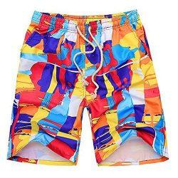 Luxsea Men Swimming Pants Surf Board Shorts Casual Swim Shorts Trunk Swimwear