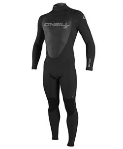 O'Neill Men's Epic 3/2mm Back Zip Full Wetsuit, Black/Black/Black, Medium Short