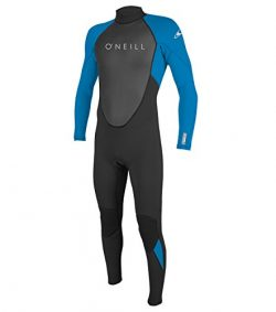 O'Neill Men's Reactor II 3/2mm Back Zip Full Wetsuit, Black/Ocean, Medium Tall