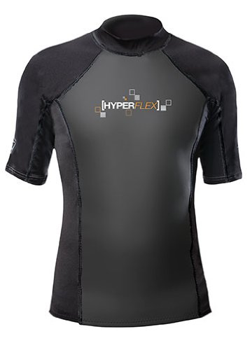 Hyperflex Wetsuits Men's Polyolefin 1.5mm 50/50 S/S Shirt, Black, Large – Surfing, W ...
