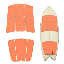 ABAHUB 9 Piece Surf Deck Traction Pad Premium EVA with Tail Kicker 3M Adhesive for Skimboard Orange
