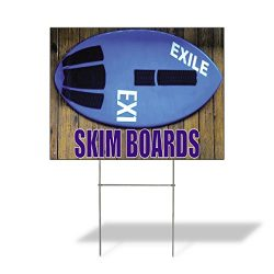 Skim Boards Outdoor Lawn Decoration Corrugated Plastic Yard Sign – 12inx18in, Free Stakes