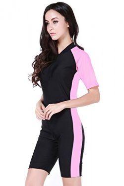 Women's One-piece Surf Swim Wet Suit Short Sleeve Rashguard, Color Black Pink, Size Asian  ...