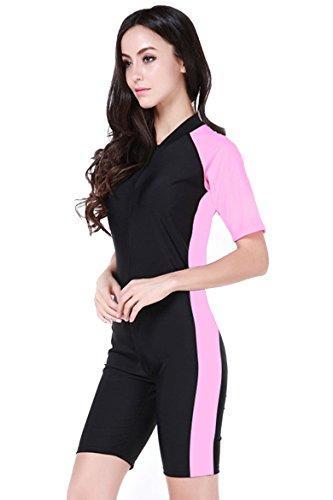 Women's One-piece Surf Swim Wet Suit Short Sleeve Rashguard, Color Black Pink, Size Asian  ...
