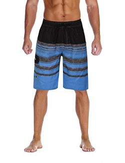 Nonwe Men's Swimwear Holiday Drawstring Quick Dry Striped Board Shorts Blue Striped 42