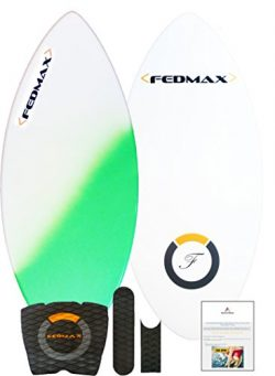 Fedmax Skimboard with Fiberglass Body & Carbon Fiber Tip Hybrid | Green, 48 In. (For riders  ...