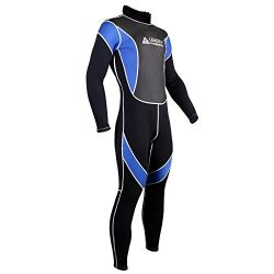 Leader Accessories 2.5mm Black/Blue Men's Fullsuit Jumpsuit Wetsuit(Large)