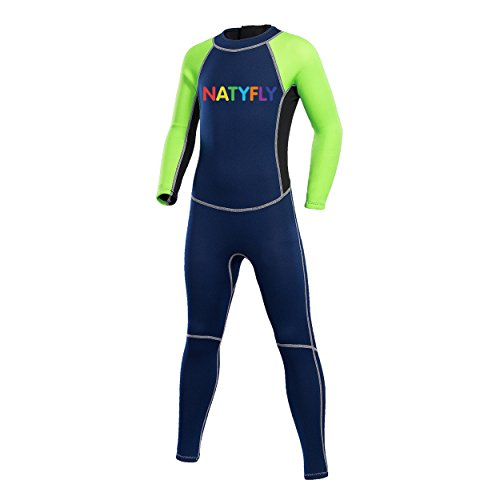 NATYFLY Neoprene Wetsuits for Kids Boys Girls Back Zipper One Piece Swimsuit UV Protection-Brand ...