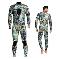 Wetsuits Mens 3MM Camo Neoprene scuba diving unisex One Piece Sport Skin Spearfishing Full Suit (L)