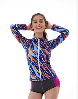 L&Sports Womens Rash Guard Top Long Sleeve Zip Front Sun Protection Plus Size Girls for Surf ...