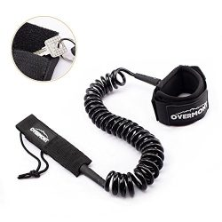 Overmont Sup Leash Coiled 10 ft TPU Safety for Wipe-Out Paddle Board Surfing Black