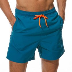 SILKWORLD Men's Swimming Surf Board Shorts Mesh Liner(US L Size-Asian Tag 2XL, Waist 34.5& ...