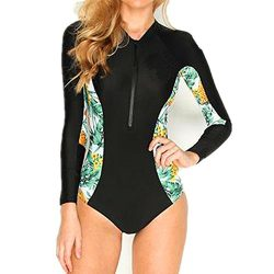 TFSeven Women's Rash Guard Long Sleeve Zip UV Sunlight Protection Print Surfing Wetsuit Sw ...