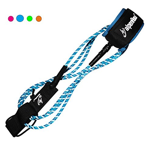 A ALPENFLOW Surfboard Leash 7mm Premium 8' Straight Leash with Double Stainless Steel Swivels an ...